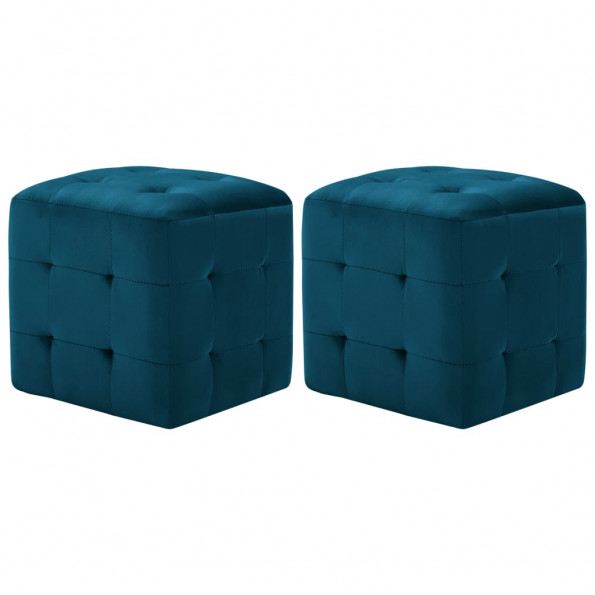 Puf 2 stk. 30 x 30 x 30 cm fløjlsstof blå