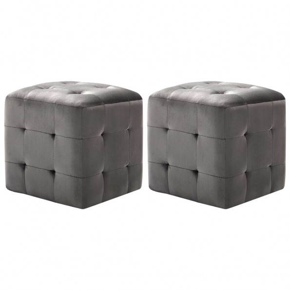 Puf 2 stk. 30 x 30 x 30 cm fløjlsstof grå