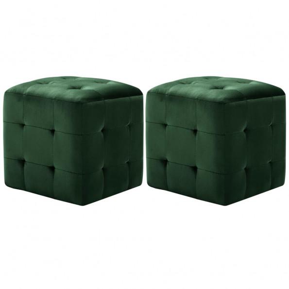 Puf 2 stk. 30 x 30 x 30 cm fløjlsstof grøn