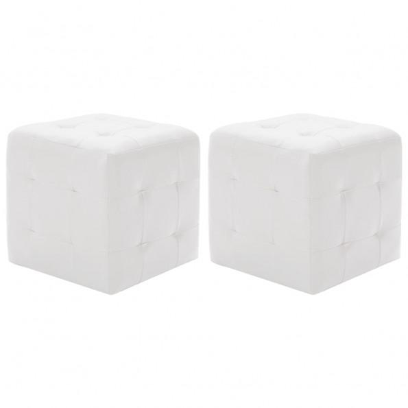 Puf 2 stk. 30 x 30 x 30 cm kunstlæder hvid