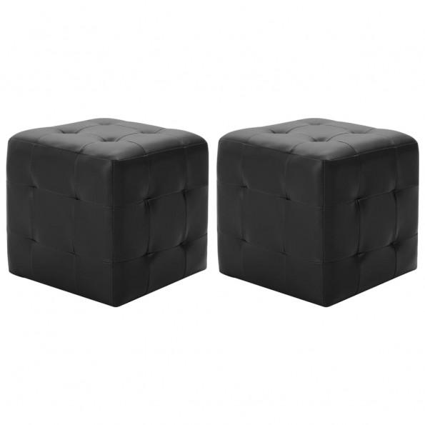 Puf 2 stk. 30 x 30 x 30 cm kunstlæder sort