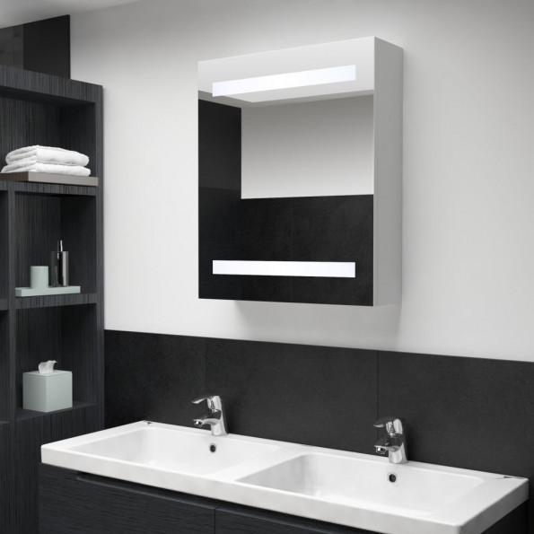 Badeværelsesskab m. spejl LED 50 x 14 x 60 cm
