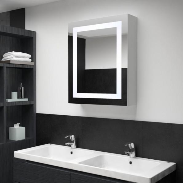 Badeværelsesskab med spejl LED 50 x 13 x 70 cm