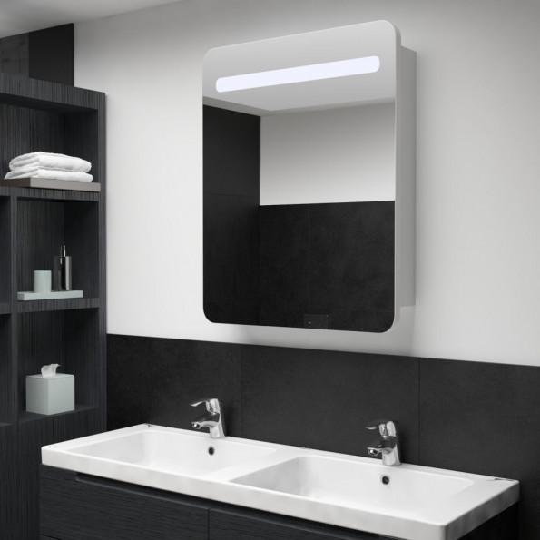 Badeværelsesskab med spejl LED 60 x 11 x 80 cm
