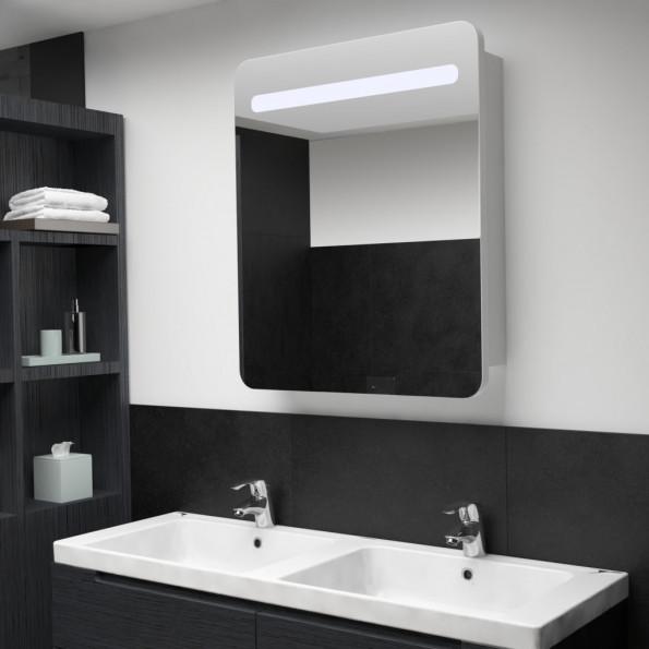Badeværelsesskab med spejl LED 68 x 11 x 80 cm