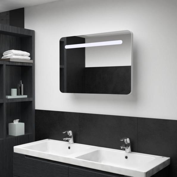 Badeværelsesskab med spejl LED 80 x 11 x 55 cm