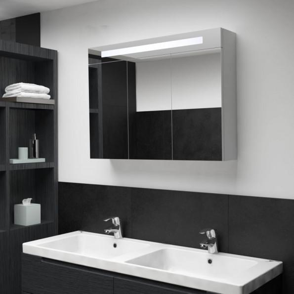 Badeværelsesskab med spejl LED 88 x 13 x 62 cm