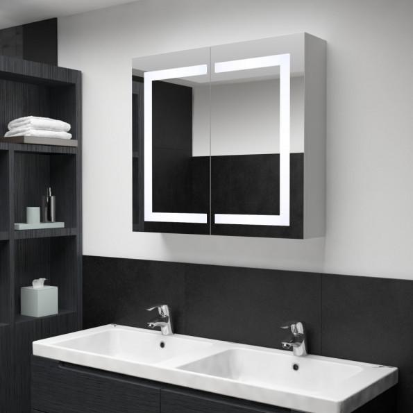 Badeværelsesskab med spejl LED 80 x 12,2 x 68 cm