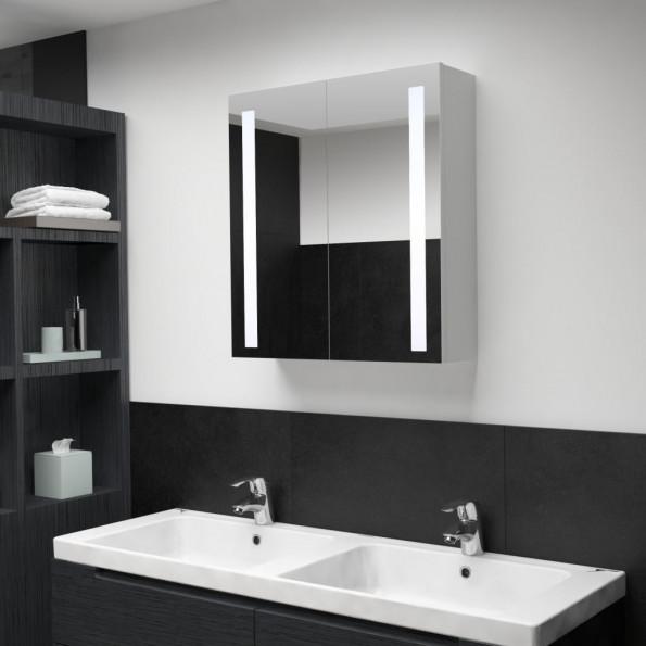 Badeværelsesskab med spejl LED 62 x 14 x 60 cm
