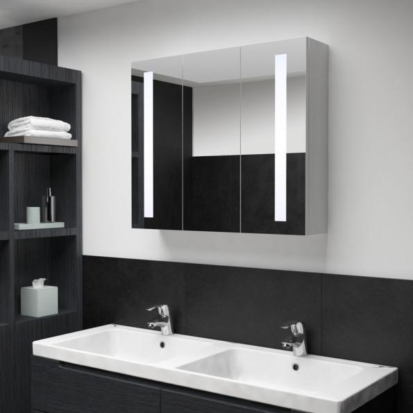 Badeværelsesskab med spejl LED 89 x 14 x 62 cm