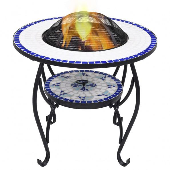 Bålfadsbord med mosaikdesign 68 cm keramisk blå og hvid