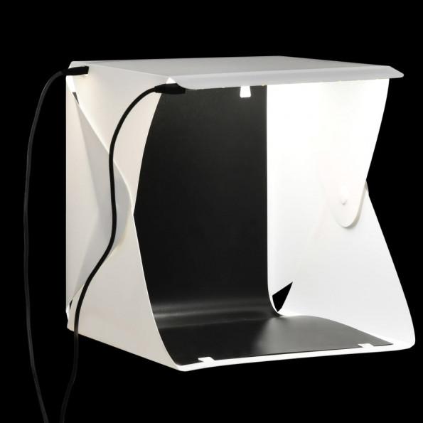 Foldbar lyskasse til fotostudie 23 x 25 x 25 cm hvid