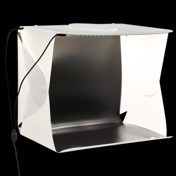 Foldbar lyskasse til fotostudie 40 x 34 x 37 cm plastik hvid