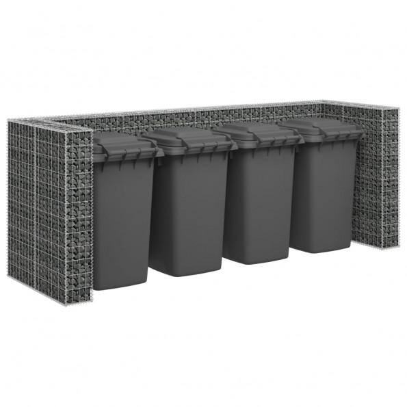 Gabionvæg til affaldsspand 320x100x120 cm galvaniseret stål