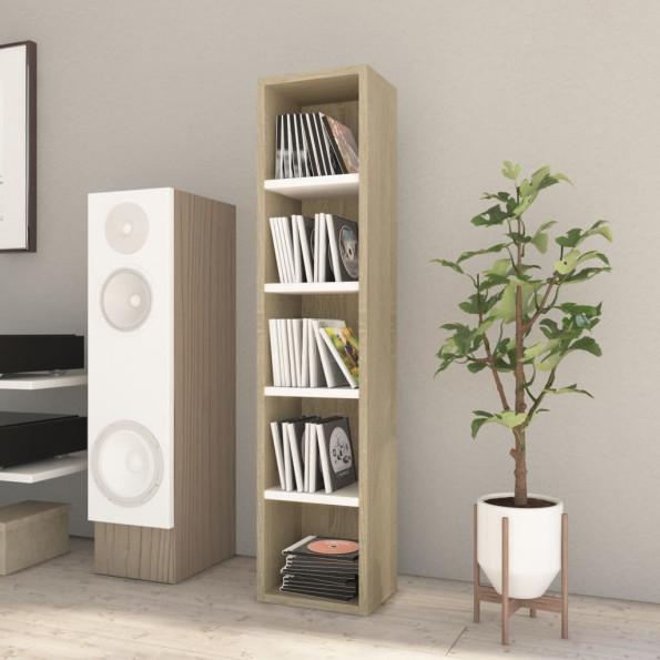 CD-reol 21 x 16 x 93,5 cm spånplade hvid og sonoma-eg