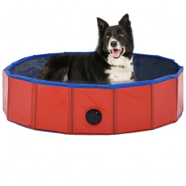 Foldbart hundebassin 80 x 20 cm PVC rød