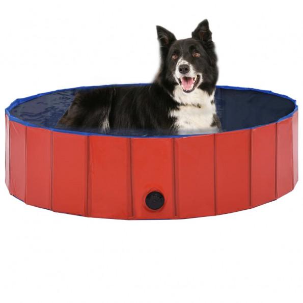 Foldbart hundebassin 120 x 30 cm PVC rød