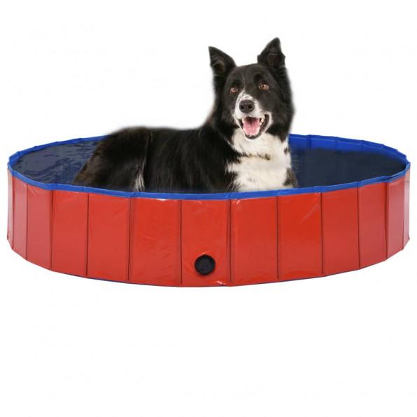 Foldbart hundebassin 160 x 30 cm PVC rød