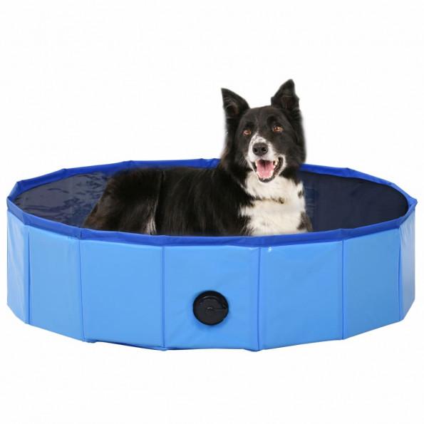 Foldbart hundebassin 80 x 20 cm PVC blå