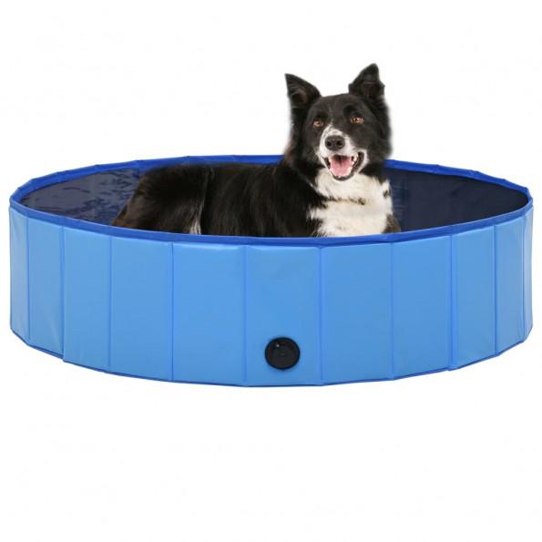 Foldbart hundebassin 120 x 30 cm PVC blå