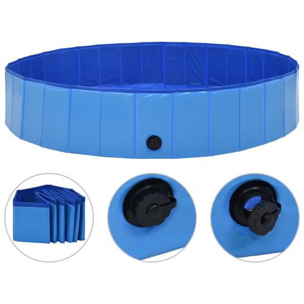 Foldbart hundebassin 160 x 30 cm PVC blå
