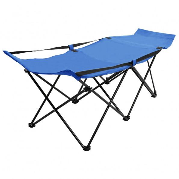 Foldbar campingseng stål blå