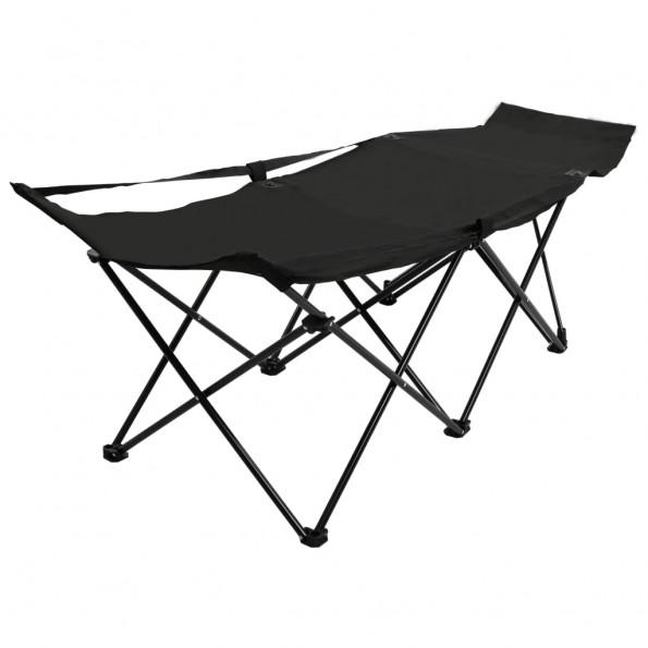 Foldbar campingseng stål sort