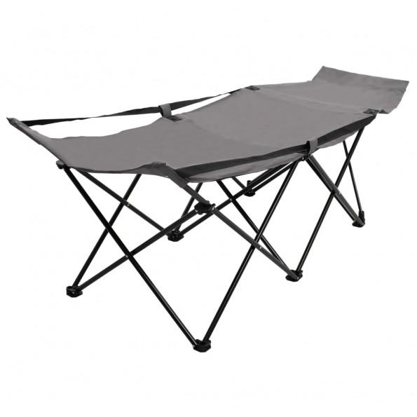 Foldbar campingseng stål grå
