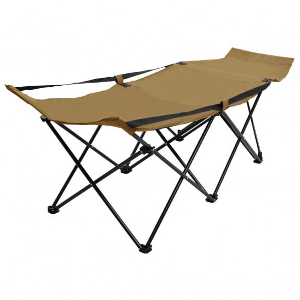 Foldbar campingseng stål gråbrun