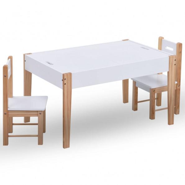Bord- og stolesæt til børn m. tavle 3 dele sort og hvid