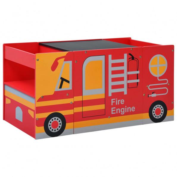 Børnebænkesæt 3 dele brandbilsdesign træ