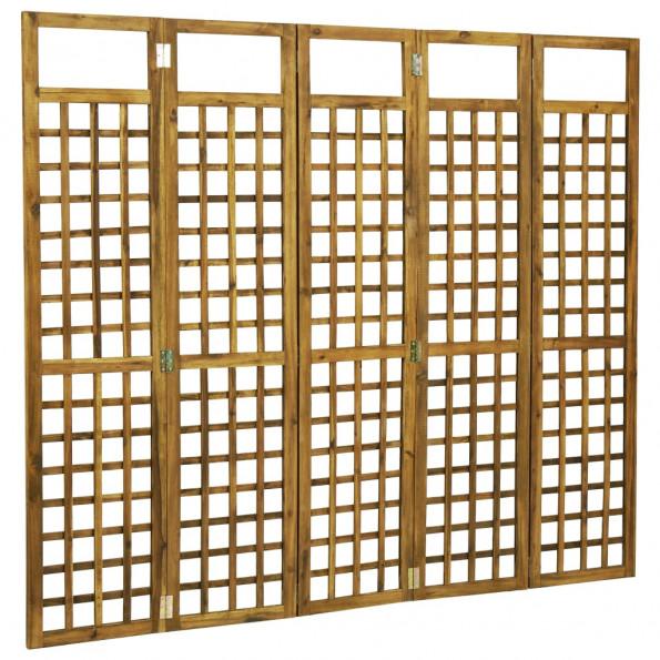 5-panels rumdeler/espalier akacietræ 200 x 170 cm