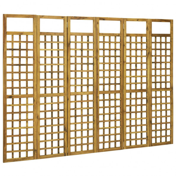 6-panels rumdeler/espalier akacietræ 240 x 170 cm