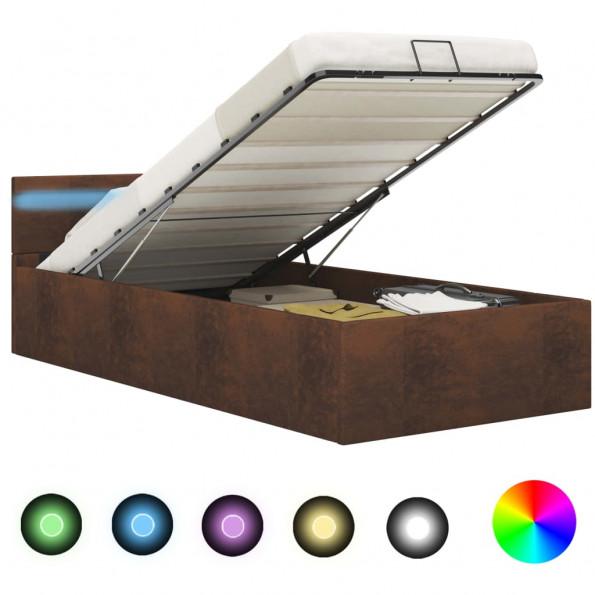 Hydraulisk opbevaringsseng med LED 100 x 200 stof brun