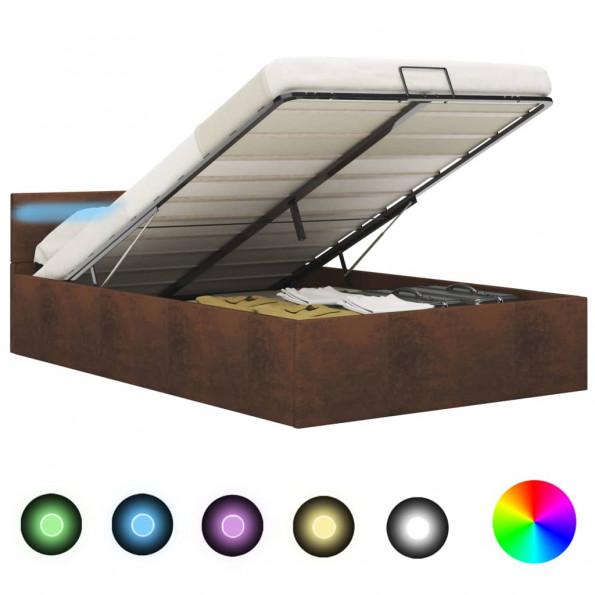 Hydraulisk opbevaringsseng med LED 120 x 200 stof brun