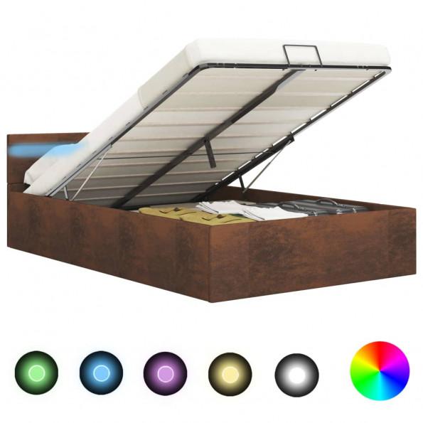 Hydraulisk opbevaringsseng med LED 160 x 200 stof brun