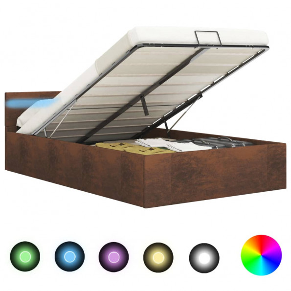 Hydraulisk opbevaringsseng med LED 180 x 200 cm stof brun