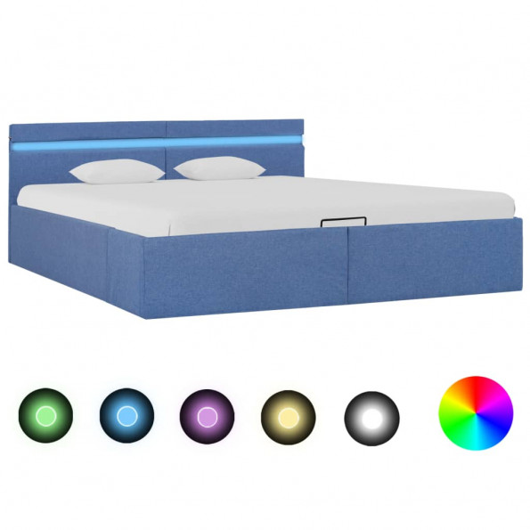 Hydraulisk opbevaringsseng med LED 180 x 200 cm stof blå