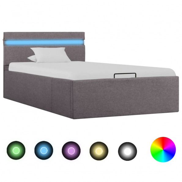 Hydraulisk opbevaringsseng med LED 100 x 200 stof gråbrun