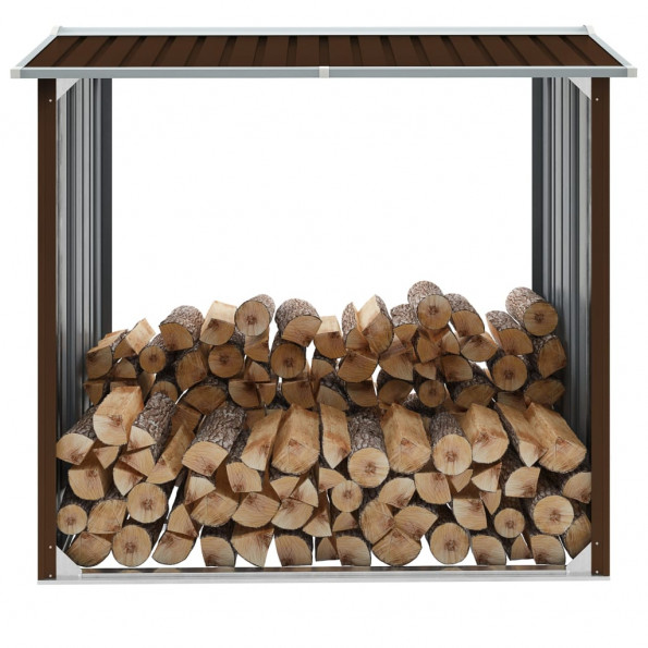 Brændeskur 172 x 91 x 154 cm galvaniseret stål brun