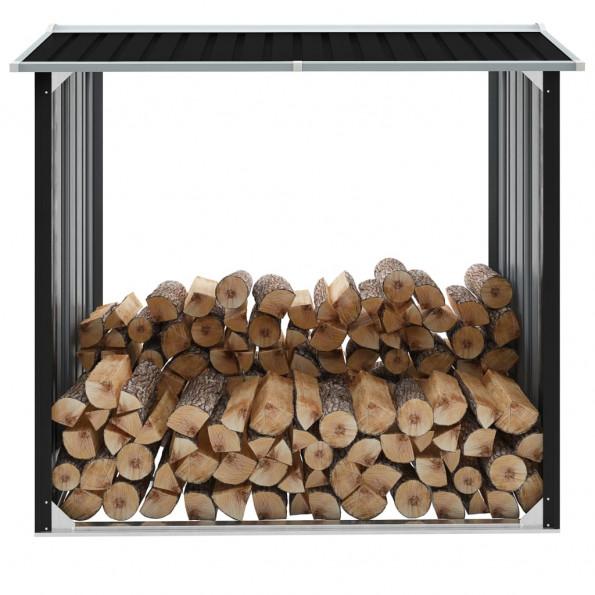 Brændeskur 172 x 91 x 154 cm galvaniseret stål antracitgrå
