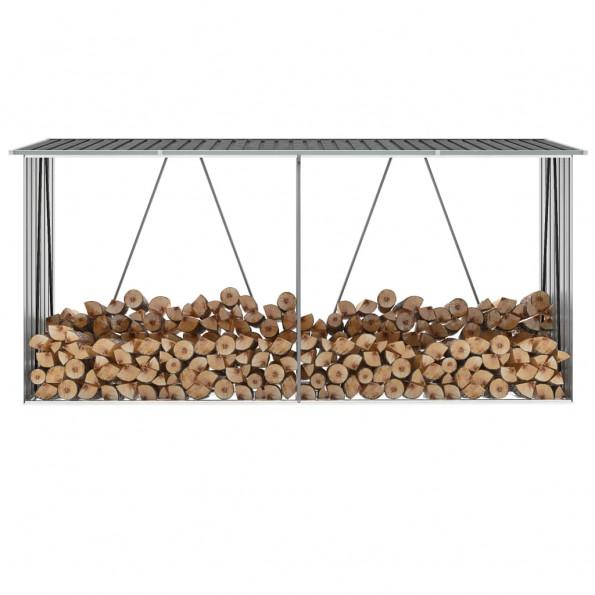 Brændeskur til haven 330x84x152 cm galvaniseret stål antracitgrå