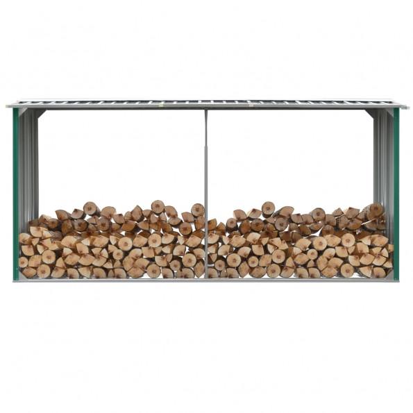 Brændeskur til haven 330 x 92 x 153 cm galvaniseret stål grøn