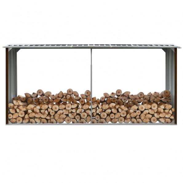 Brændeskur til haven 330 x 92 x 153 cm galvaniseret stål brun
