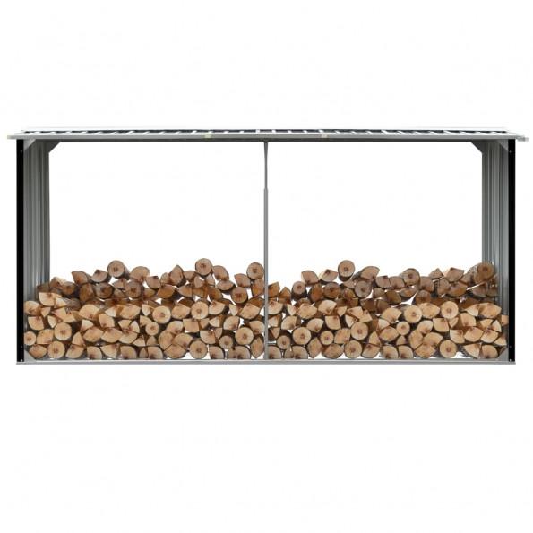 Brændeskur 330 x 92 x 153 cm galvaniseret stål antracitgrå