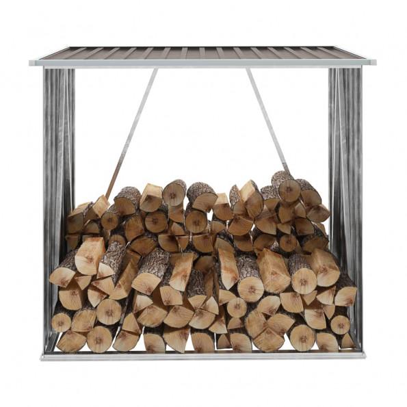 Brændeskur til haven 163x83x154 cm galvaniseret stål brun