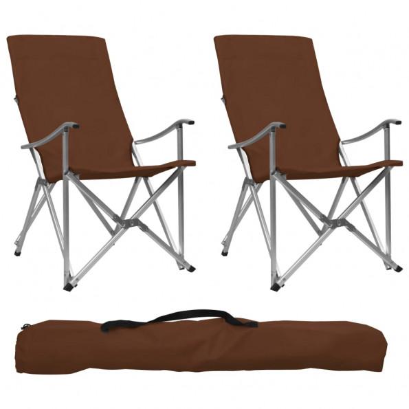 Foldbare campingstole 2 stk. brun