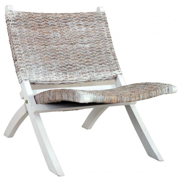 Afslapningsstol naturlig kubu-rattan massivt mahognitræ hvid