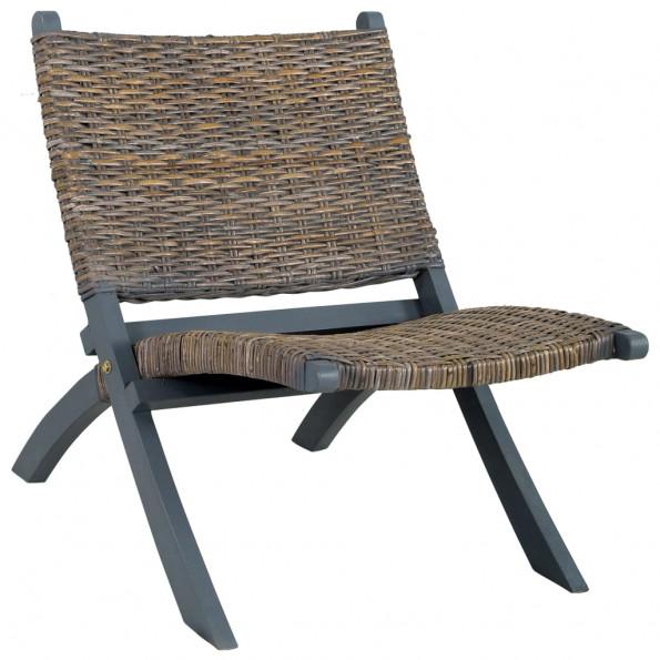 Afslapningsstol naturlig kubu-rattan massivt mahognitræ grå