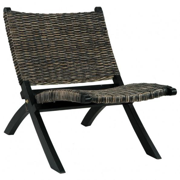 Afslapningsstol naturlig kubu-rattan massivt mahognitræ sort